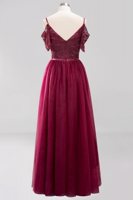Chiffon Lace Sweetheart Spaghetti Straps Short-Sleeves Floor-Length Bridesmaid Dresses with Ruffles_7