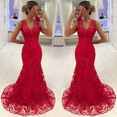 Mermaid Appliques Straps Sleeveless V-Neck Long Prom Dress_3