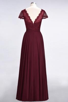 Elegant Princess Chiffon Lace V-Neck Cap-Sleeves Floor-Length Bridesmaid Dress_2