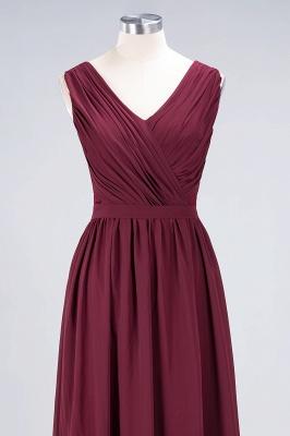 Elegant Princess Chiffon Lace V-Neck Sleeveless Floor-Length Bridesmaid Dress with Ruffles_4