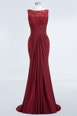 Elegant A-Line Burgundy Chiffon Lace Scoop Sleeveless Ruffles Floor-Length Bridesmaid Dresses_7