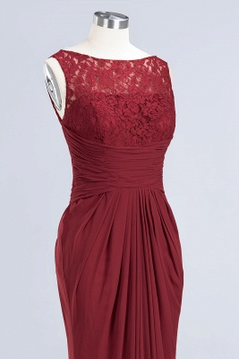 Elegant A-Line Burgundy Chiffon Lace Scoop Sleeveless Ruffles Floor-Length Bridesmaid Dresses_11