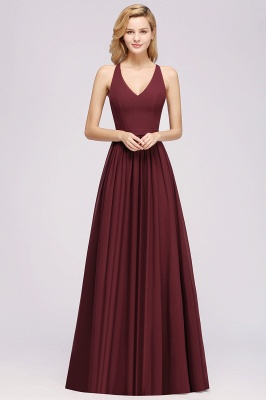 | A-Line Chiffon Lace V-Neck Sleeveless Straps Floor-Length Bridesmaid Dresses_35