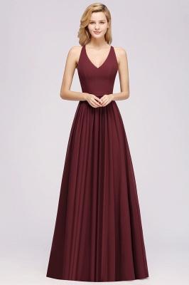 | A-Line Chiffon Lace V-Neck Sleeveless Straps Floor-Length Bridesmaid Dresses_35