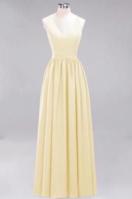 | A-Line Chiffon Lace V-Neck Sleeveless Straps Floor-Length Bridesmaid Dresses_17
