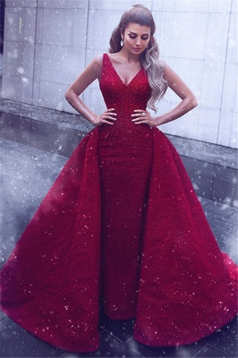 Sheath Lace V-Neck Straps Sleeveless Prom Dress with Beadings_1