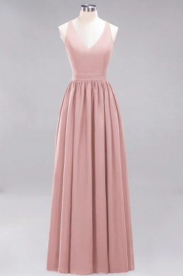 | A-Line Chiffon Lace V-Neck Sleeveless Straps Floor-Length Bridesmaid Dresses_6