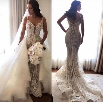 Elegant Spaghetti Straps Sleeveless  Mermaid Lace Appliques Wedding Dress_1