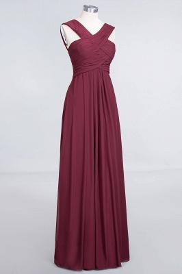 Elegant Princess Chiffon V-Neck Straps Sleeveless Floor-Length Bridesmaid Dress with Ruffles_3