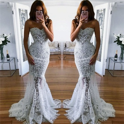 Sheer Tulle Lace Appliques Mermaid Bridal Gowns | Sweetheart Cheap Beach Wedding Dresses for Summer_3