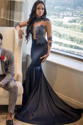 Elegant Mermaid Appliques 3/4 Sleeves Long Prom Dress_1