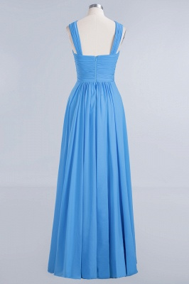 Elegant A-Line Chiffon Straps Sleeveless Ruffles Floor-Length Bridesmaid Dresses_8