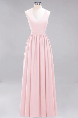 | A-Line Chiffon Lace V-Neck Sleeveless Straps Floor-Length Bridesmaid Dresses_3