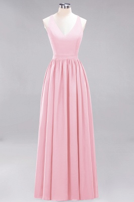 | A-Line Chiffon Lace V-Neck Sleeveless Straps Floor-Length Bridesmaid Dresses_4