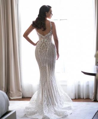 Elegant Spaghetti Straps Sleeveless  Mermaid Lace Appliques Wedding Dress_4