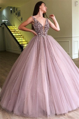Tulle Beading Deep-V-Neck Straps Sleeveless Prom Dress_1