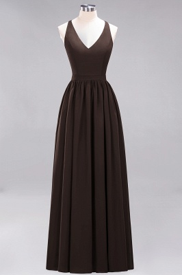 | A-Line Chiffon Lace V-Neck Sleeveless Straps Floor-Length Bridesmaid Dresses_11