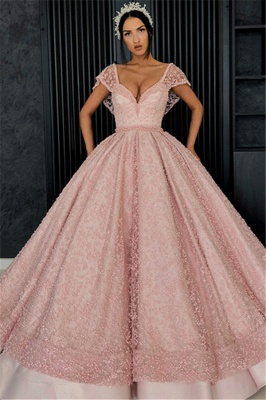 Beading V-Neck Cap-Sleeves Prom Dress_1