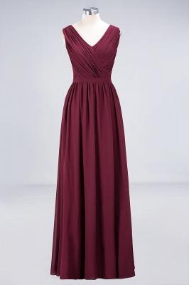Elegant Princess Chiffon Lace V-Neck Sleeveless Floor-Length Bridesmaid Dress with Ruffles_1