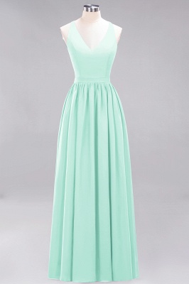 | A-Line Chiffon Lace V-Neck Sleeveless Straps Floor-Length Bridesmaid Dresses_34