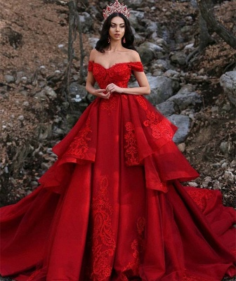 Gorgeous Appliques Off-the-Shoulder Sleeveless Prom Dress_3