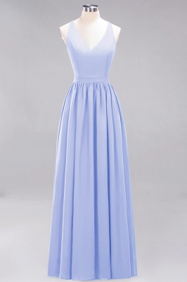| A-Line Chiffon Lace V-Neck Sleeveless Straps Floor-Length Bridesmaid Dresses_21