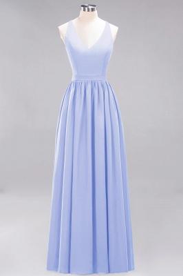 | A-Line Chiffon Lace V-Neck Sleeveless Straps Floor-Length Bridesmaid Dresses_21