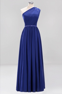 Elegant A-Line Burgundy Chiffon One-Shoulder Sleeveless Ruffles Floor-Length Bridesmaid Dresses with Beadings_7