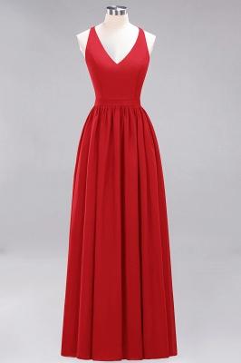 | A-Line Chiffon Lace V-Neck Sleeveless Straps Floor-Length Bridesmaid Dresses_8