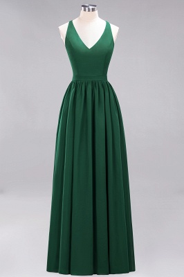 | A-Line Chiffon Lace V-Neck Sleeveless Straps Floor-Length Bridesmaid Dresses_30