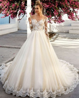 Elegant A-Line Sexy Lace Appliques Sexy Off The Shoulder Long Sleeve Wedding Dresses BC0756_3