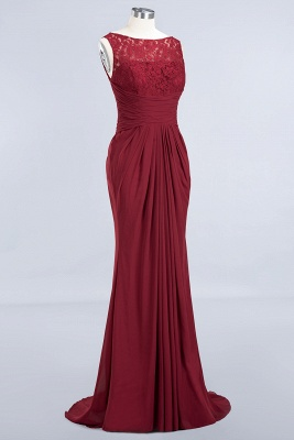 Elegant A-Line Burgundy Chiffon Lace Scoop Sleeveless Ruffles Floor-Length Bridesmaid Dresses_9