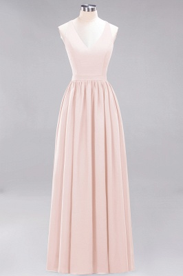 | A-Line Chiffon Lace V-Neck Sleeveless Straps Floor-Length Bridesmaid Dresses_5
