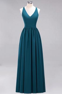 | A-Line Chiffon Lace V-Neck Sleeveless Straps Floor-Length Bridesmaid Dresses_26