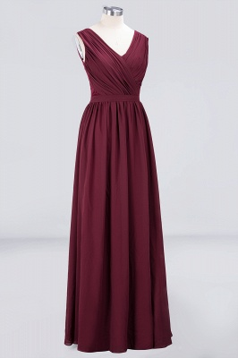 Elegant Princess Chiffon Lace V-Neck Sleeveless Floor-Length Bridesmaid Dress with Ruffles_3