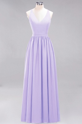 | A-Line Chiffon Lace V-Neck Sleeveless Straps Floor-Length Bridesmaid Dresses_20