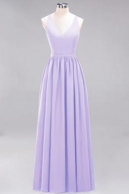 | A-Line Chiffon Lace V-Neck Sleeveless Straps Floor-Length Bridesmaid Dresses_20