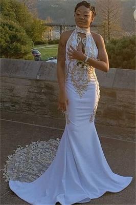 Glamorous Halter Deep V-Neck Sleeveless Appliques Mermaid Prom Dress_2