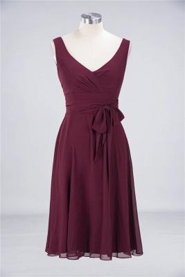 Elegant Princess Chiffon Straps V-Neck Sleeveless Ruffles Knee-Length Bridesmaid Dress with Bow Sash_1