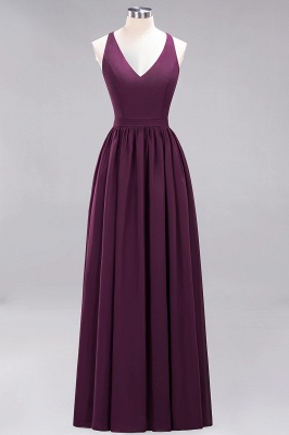 | A-Line Chiffon Lace V-Neck Sleeveless Straps Floor-Length Bridesmaid Dresses_19