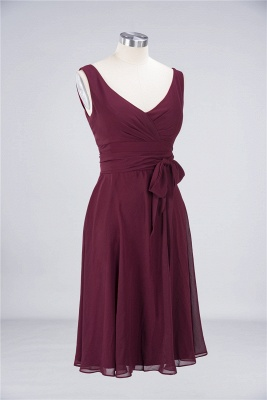 Elegant Princess Chiffon Straps V-Neck Sleeveless Ruffles Knee-Length Bridesmaid Dress with Bow Sash_2