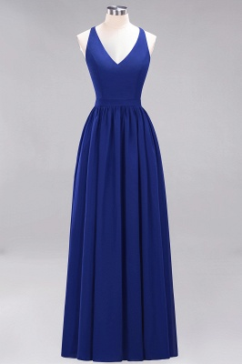 | A-Line Chiffon Lace V-Neck Sleeveless Straps Floor-Length Bridesmaid Dresses_25