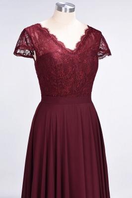 Elegant Princess Chiffon Lace V-Neck Cap-Sleeves Floor-Length Bridesmaid Dress_5