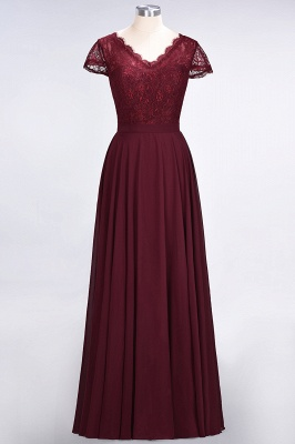 Elegant Princess Chiffon Lace V-Neck Cap-Sleeves Floor-Length Bridesmaid Dress_1