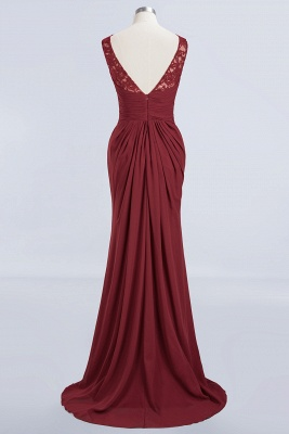 Elegant A-Line Burgundy Chiffon Lace Scoop Sleeveless Ruffles Floor-Length Bridesmaid Dresses_8
