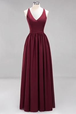| A-Line Chiffon Lace V-Neck Sleeveless Straps Floor-Length Bridesmaid Dresses_10