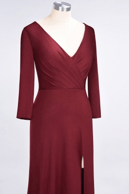 Elegant Princess Spandex V-Neck Long-Sleeves Side-Slit Floor-Length Bridesmaid Dress with Ruffles_5