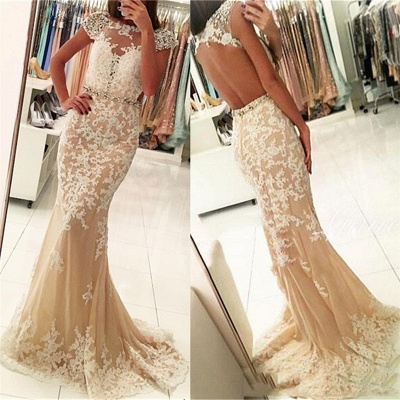 Fashion Appliques Round Neck Cap Sleeves Mermaid Prom Dress_3