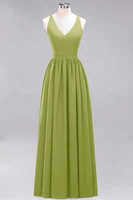 | A-Line Chiffon Lace V-Neck Sleeveless Straps Floor-Length Bridesmaid Dresses_32