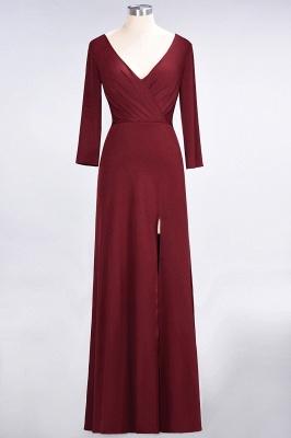 Elegant Princess Spandex V-Neck Long-Sleeves Side-Slit Floor-Length Bridesmaid Dress with Ruffles_1